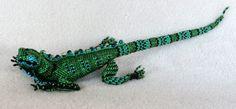 F1988 - Beaded Green Iguana, from Guatemala, 13 inches long