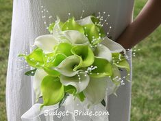 "Green and White Calla Lily Bouquet - remove the ""pearls"" and this would be a fantastic bridesmaid bouquet"
