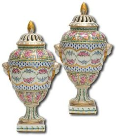 Dresden Porcelain is often confused with Meissen porcelain, but only because Meissen blanks were used initially.However, Dresden porcelain refers more to an artistic movement than a particular porcelain company.(photo;Dresden Porcelain Pot Pourri Vases)