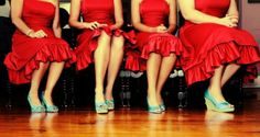 Red bridesmaids' dresses with turquoise shoes. - Maybe we could do black dresses, and red/turquoise accents, in the shoes or in a sash or something...