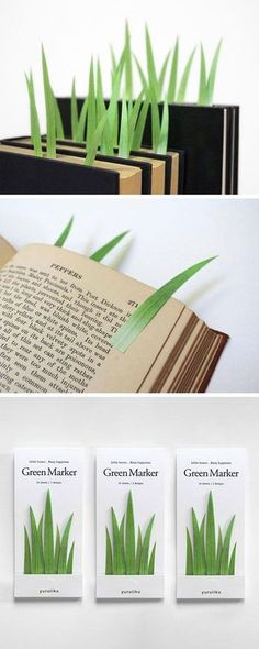 Grass Blade Post-It bookmarks  (Not a meme, just wanna save this)
