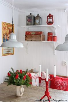 White, wood, and red as the pop of color (very Swedish!).