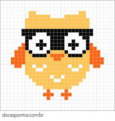 Owl perler bead pattern - docespontos