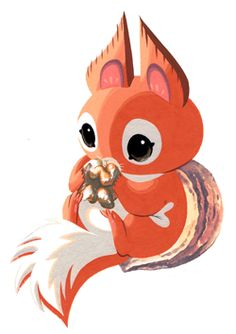 Baby Walnut Squirrel by Becky & Frank