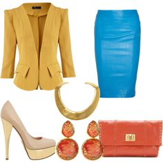 """Yellow Blazer & Blue Pencil Skirt Office Chic"" by theresa-hawkins on Polyvore"