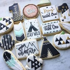 Wild One Cookies - Boys Wild One Birthday IdeasYou can find Wild one birthday party boys and more on our website.Wild One Cookies - Boys Wild One Birthday Ideas Boys First Birthday Party Ideas, Wild One Birthday Party, First Birthday Decorations, Baby Boy First Birthday, Boy Birthday Parties, 1st Birthday Boy Themes, First Birthday Cookies, Twin Birthday, Birthday Kids