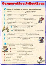 eb75eb96f84c051c1e931b1793bc9bc4 Esl Comparative Worksheet Pdf on free transportation, family relatives, family members, intermediate grammar, classroom language, first conditional, body parts, food vocabulary,