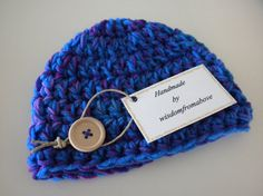 Crochet Baby Hat Blue/Purple with Wood Button by wisdomfromabove