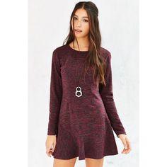 Kimchi Blue Spacedye Drop-Waist Dress ($50) ❤ liked on Polyvore featuring dresses, purple, stretch dress, flared dress, long sleeve stretch dress, purple ruffle dress and drop waist dress
