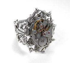 Steampunk Ring Vintage SILVER Ornate Jeweled Watch Movement SOLDERED Adjustable STUNNING Wedding Ring - Steampunk Jewelry by edmdesigns. $85.00, via Etsy.