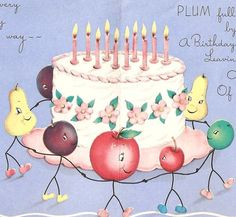 SALE Vintage Birthday Card Pink Cake and Fruit