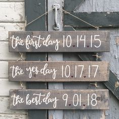 The first day, the yes day, & the best day hand painted pallet hanging wood sign with specific dates for a couple #anniversary #byhand #calligraphy #dates #freehand #hangingsign #handpainted #handmade #handlettering #homedecor #maker #pallet #palletwood #palletsign #rustic #sign #signage #signmaker #thefirstday #theyesday #thebestday #wood #woodsign #wedding #weddingdate