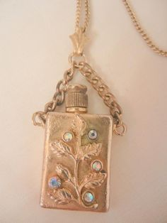 Vintage beautiful Brass rhinestone Chatelaine Perfume Bottle with Gold filled Chain Necklace