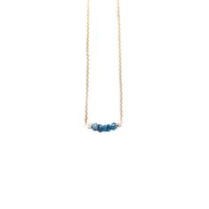 """Story  Five diamonds in the rough  Julia Szendrei's Blue Rough Diamond Tiny Bridge Necklace is a simple and elegant piece. It's made from 5 rough blue diamonds set onto a 14K gold-filled chain. At a 16.5"""" length, the bridge rests across the collarbone.  Features  Made from blue diamonds Petite and elegant style 5 rough diamonds set onto 14K gold-filled chain 16.5"""" set length Collarbone length Made in San Francisco  Materials   Made from blue diamonds 4K gold-filled chain  D..."""