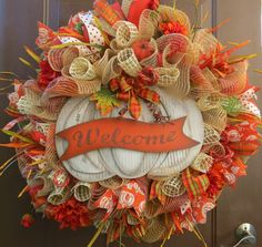 Reserved for Beth - Fall Deco Mesh Wreath - Autumn Mesh Wreath - Fall Wreath - Autumn Wreath - Thanksgiving Wreath Thanksgiving Mesh Wreath, Fall Mesh Wreaths, Fall Deco Mesh, Thanksgiving Wreaths, Autumn Wreaths, Deco Mesh Wreaths, Thanksgiving Decorations, Holiday Wreaths, Wreath Fall