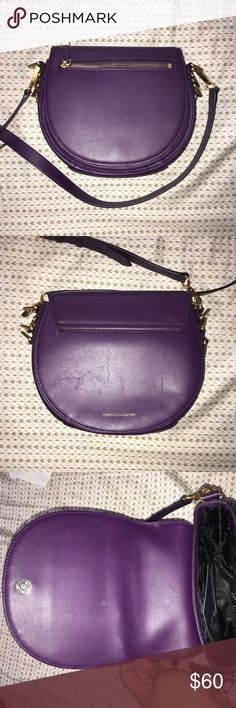 Rebecca Minkoff Astor Saddle Cross Body Bag Rebecca Minkoff Astor Saddle Cross Body Bag, Aubergine, Dust Bag available. A few scuff marks on the bag, the leather is super soft so easily marked. Selling as is because I don't wear it. Offers welcome, please use offer button. Rebecca Minkoff Bags Crossbody Bags