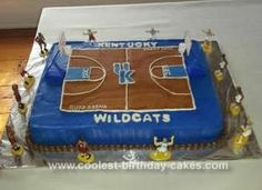 Homemade Kentucky Basketball Court Cake: This Kentucky Basketball Court Cake was a fun cake to make. It was a groom's cake. The cake is a 19x13 marble sheet cake. I covered it in Kentucky Blue