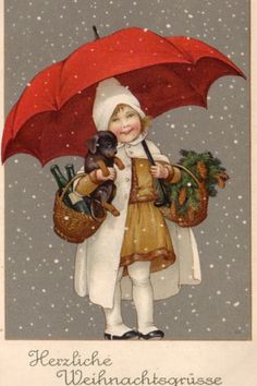 Christmas girl with dog or dachshund unsign Marie Flatscher 1916 Christmas Card Pictures, Vintage Christmas Images, Old Christmas, Christmas Scenes, Old Fashioned Christmas, Victorian Christmas, Retro Christmas, Vintage Holiday, Christmas Greetings