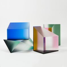 """http://trendland.com/phillip-low-a-play-of-light/ , accessed 21/7/13, Phillip Low's sculptures. Shiny acrylic and jelly bean gradients blend smoothly into any space. """"Using color and dimension, he creates static objects that become kinetic as the viewer's perspective changes. This engagement makes you want to pick it up, touch it, arrange it, find the right position for it. You can pass the hours, just looking."""""""