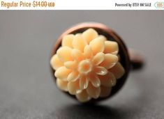VALENTINE SALE Apricot Mum Flower Ring. Apricot Chrysanthemum Ring. Apricot Flower Ring. Adjustable Ring. Handmade Flower Jewelry. by StumblingOnSainthood from Stumbling On Sainthood. Find it now at http://ift.tt/2siqBQq!