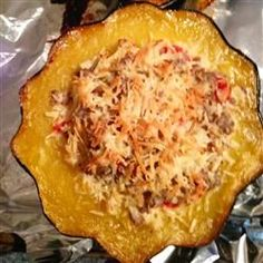 Squasage (Sausage-stuffed Squash) Allrecipes.com 523 c as is, maybe lighten up with turkey sausage and nonfat yogurt instead of sour cream