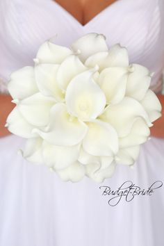 white real touch Calla Lily Wedding Bouquet Davids Bridal