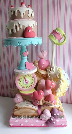 Serious dowelling in this cake! 'Baked with love' cake Gorgeous Cakes, Pretty Cakes, Cute Cakes, Amazing Cakes, Fancy Cakes, Gravity Defying Cake, Gravity Cake, Cake Wrecks, Take The Cake