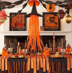 Witch Hat & Crepe Paper Decor