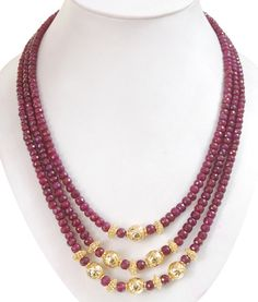 Designer Three Strand RUBY GEMSTONE Wedding Necklace With Gold Plated Beads – Matching Dangler Earrings -Beads 5mm-6mm