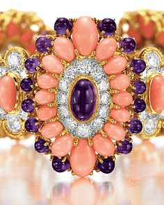CORAL, AMETHYST AND DIAMOND 'LAMARTINE' BRACELET BY VAN CLEEF & ARPELS. Formerly owned by Elizabeth Taylor.
