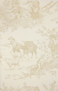 Chateau de Loir Toile Wallpaper Pastoral scenic Toile de Jouy wallpaper in beige on off white, has matching fabric.