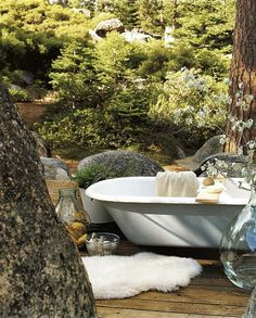 outdoor bath with boulders