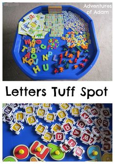 L is for Letter Tuff Spot Use a variety of letter puzzles, Alphablock letters and our DIY Alphablock Dominoes to create a Letter Tuff Spot Builders Tray Educational Activities For Kids, Letter Activities, Phonics Activities, Literacy Activities, Tot School, School Fun, Tuff Tray Ideas Toddlers, Dear Zoo, Tuff Spot