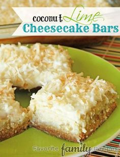 These Coconut Lime Cheesecake Bars are heavenly, or maybe I should say sinful. There is no way you can eat just one! If you loved our coconut cake recipe, you've got to try these! Summer Desserts, Just Desserts, Delicious Desserts, Yummy Food, Icebox Desserts, Party Desserts, Summer Recipes, Lime Cheesecake, Cheesecake Recipes