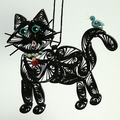 Quilled / Filigree Kitty Cat Hanging Ornament by AGiftwithinaGift, $25.95