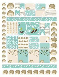Free Planner Sticker Printable Hedgehog winter planner stickers - hedgehogs, borders