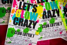 Lottie is having a Let's Glow Crazy party and you're invited! Matter of fact, you can download, edit and print these invitations and have your very own Let's Glow Crazy party. Jus…