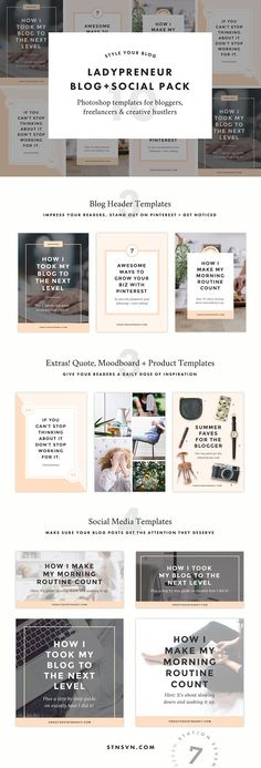 Ladypreneur Blog + Social Pack by Station Seven on @creativemarket Graphic Design resources | templates | Inspiration | Graphic Design products| ideas | social media | small businesses |