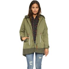 Maison Scotch Bomber Parka ($330) ❤ liked on Polyvore featuring outerwear, coats, army green, long sleeve coat, brown coat, hooded coats, lined parka e olive parka