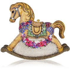 Judith Leiber Couture Penelope Floral Rocking Horse Evening Clutch Bag (£5,130) ❤ liked on Polyvore featuring bags, handbags, clutches, champagne multi, evening clutches, floral print handbags, beaded purse, evening handbags and judith leiber purses