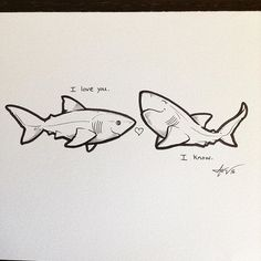 Another $10 original sketch has been listed! Show some shark love :) www.etsy.com/shop/sharktopiaCC #iloveyouiknow #sharktopia #sharkart #sharks #cutesharks #sweetheart #valentine #sappy #starwarsquote #sharknerd #sharklife #lovesharks