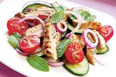 Grilled Chicken Breast and Cucumber Salad - Pure Slim 1000 Diet Program Mint Salad, Cucumber Salad, Fresh Chicken, Grilled Chicken, Low Carb Recipes, Cooking Recipes, Healthy Recipes, Healthy Meals, Great Recipes