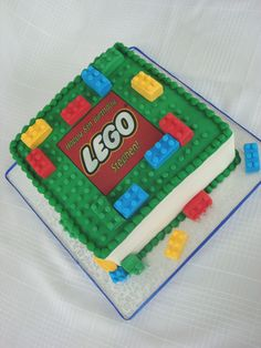 https://flic.kr/p/6q4hYR | Lego Cake | Originally inspired by risquecakes Lego cake.   Buttercream with fondant top.  The legos are gumpaste and the logo was made with my new edible image printer!