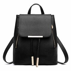 Girls Drawstring PU Leather Double Shoulder Backpacks, Satchel Rucksacks for High Middle School College Women Students, Travel Hiking Picnic Climbing Shopping Dating Party Daypacks for Teens Girls, Buckle (Black)