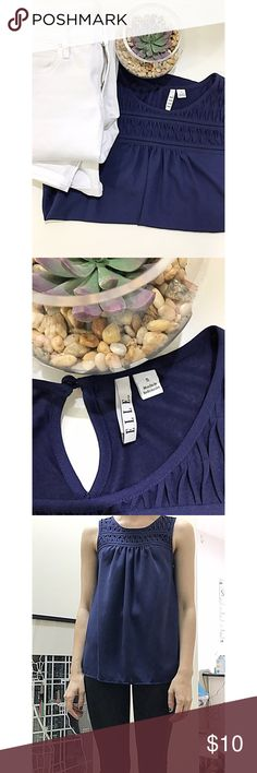 Elle dark blue tank top Elle dark blue tank top. Beautiful detailing on the top. Lays perfectly. Perfect condition let me know if you have any questions 💙 I always offer discounts on bundles! elle Tops Tank Tops