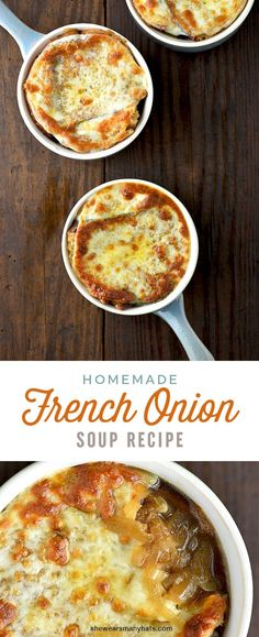pes and sizes for people. It doesn't have to be complicated or fancy. Soup is one of my favorite comfort foods. This quick and Easy French Onion Soup recipe is a simplified version of the favo Onion Soup Recipes, Easy Soup Recipes, Cooking Recipes, Easy Onion Soup Recipe, Onion Soups, Recipes Dinner, Vegetarian Recipes, Chicken Recipes, Homemade French Onion Soup