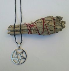 Silver Stainless Steel Inverted Pentagram On A by LaveyanSatanism