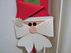 Santa door hanger made with Stampin Up bow die swap made by Claire Dean SU UK Demonstrator
