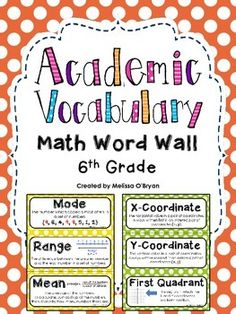 Math Word Wall 6th Grade Common Core Academic Vocabulary -