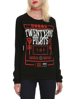 Twenty One Pilots Red Box Girls Top, BLACK